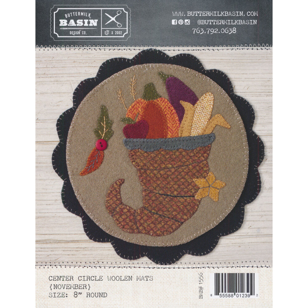 """""""Welcome"""" Home Center Circle Mat - November Pattern available at Shabby Fabrics"""