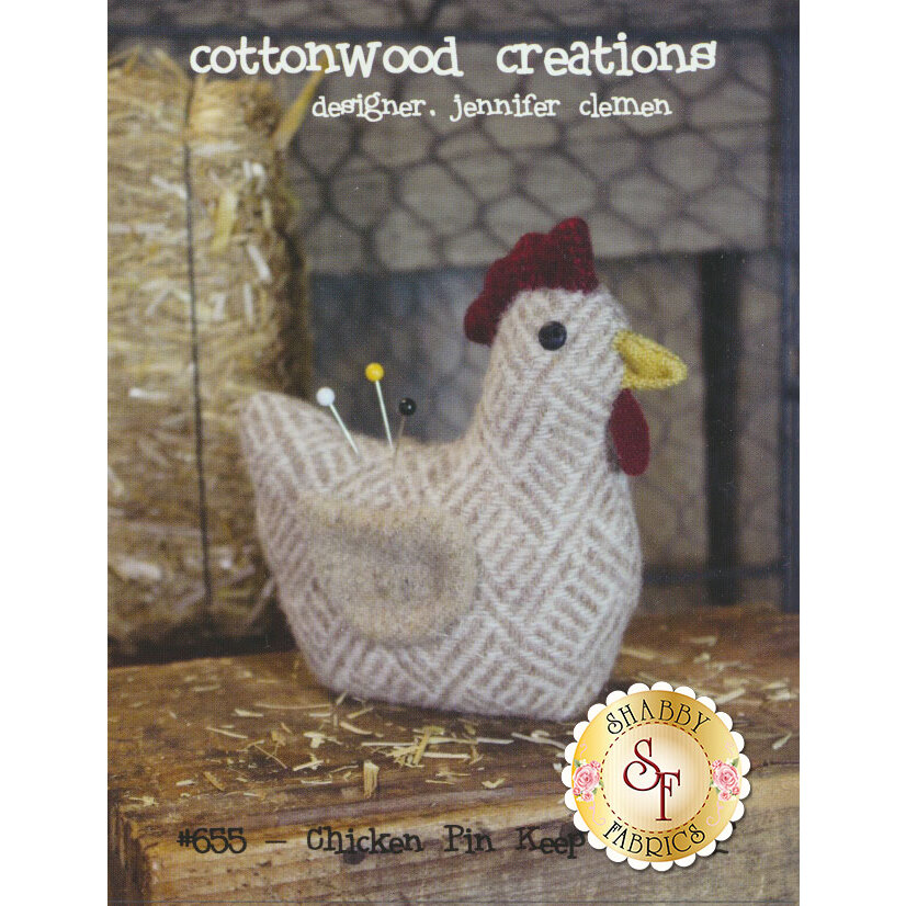 The front of the Chicken Pin Keep pattern showing the finished chicken pin cushion | Shabby Fabrics