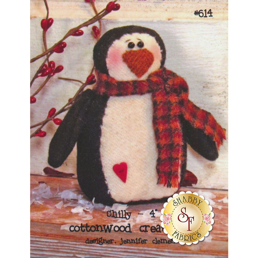The front of the Chilly pattern showing the finished penguin   Shabby Fabrics