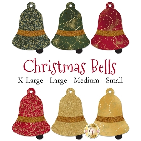 6 bell applique shapes in red, green, and gold Christmas prints.