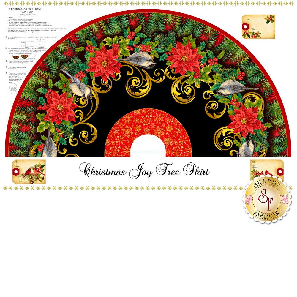 Christmas tree skirt panel with birds and poinsettias | Shabby Fabrics