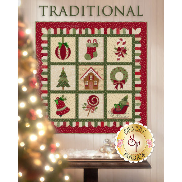 9 block traditional applique quilt featuring Christmas motifs: stocking, ornament, Christmas tree.
