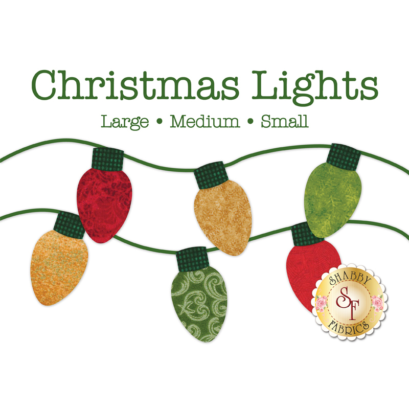 6 Christmas light applique shapes in red, green, and gold Christmas print fabrics.