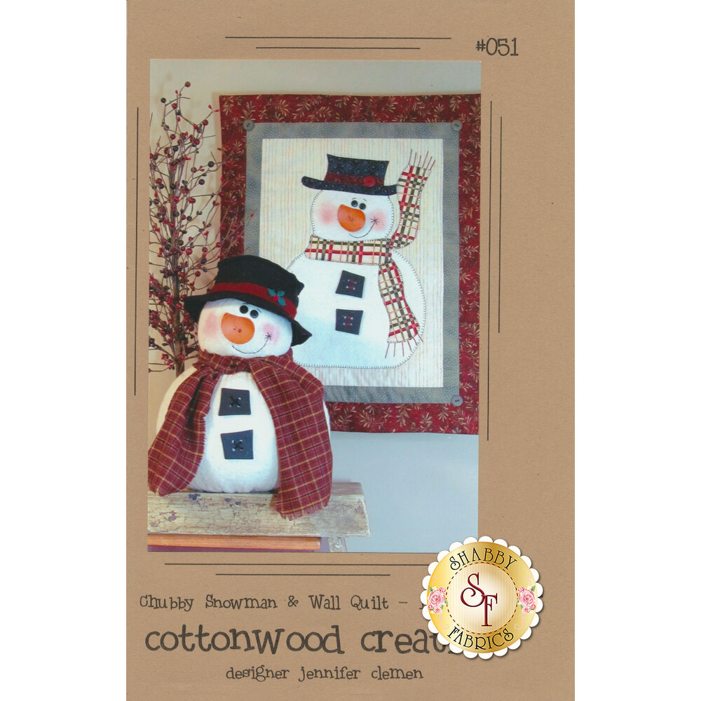 The front of the Chubby Snowman & Wall Quilt pattern showing the coordinating projects