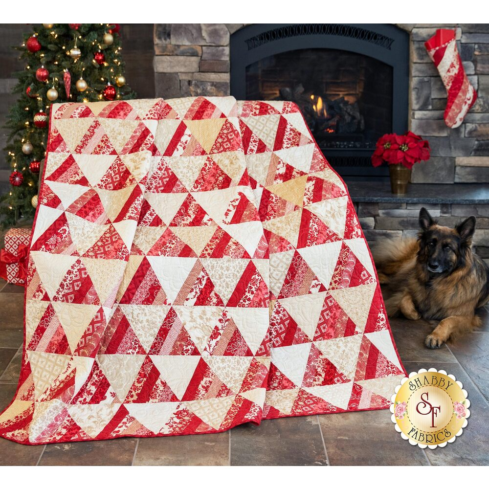 Large quilt with different pieced fabrics creating alternating red and cream triangles