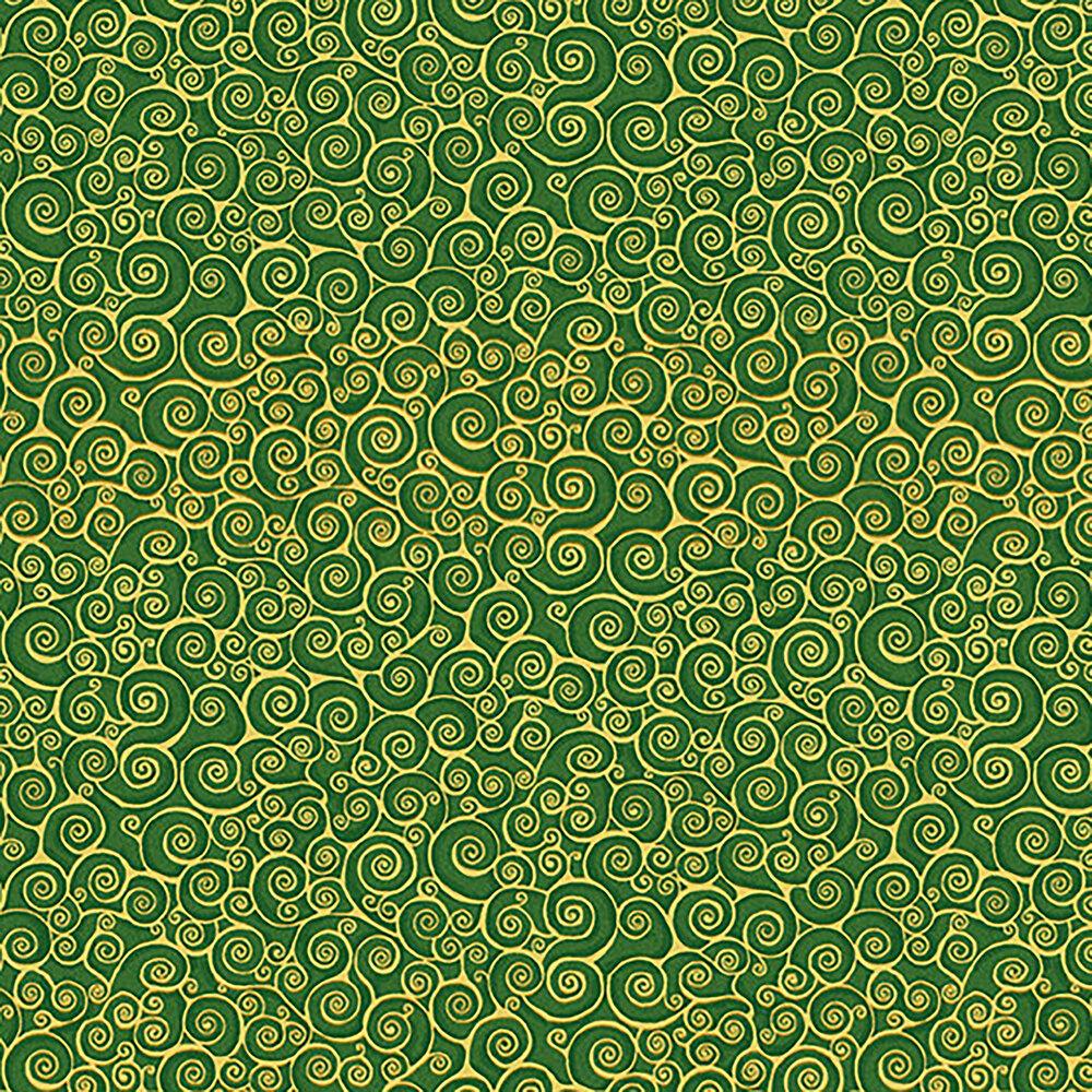 Metallic scrolls on a green background