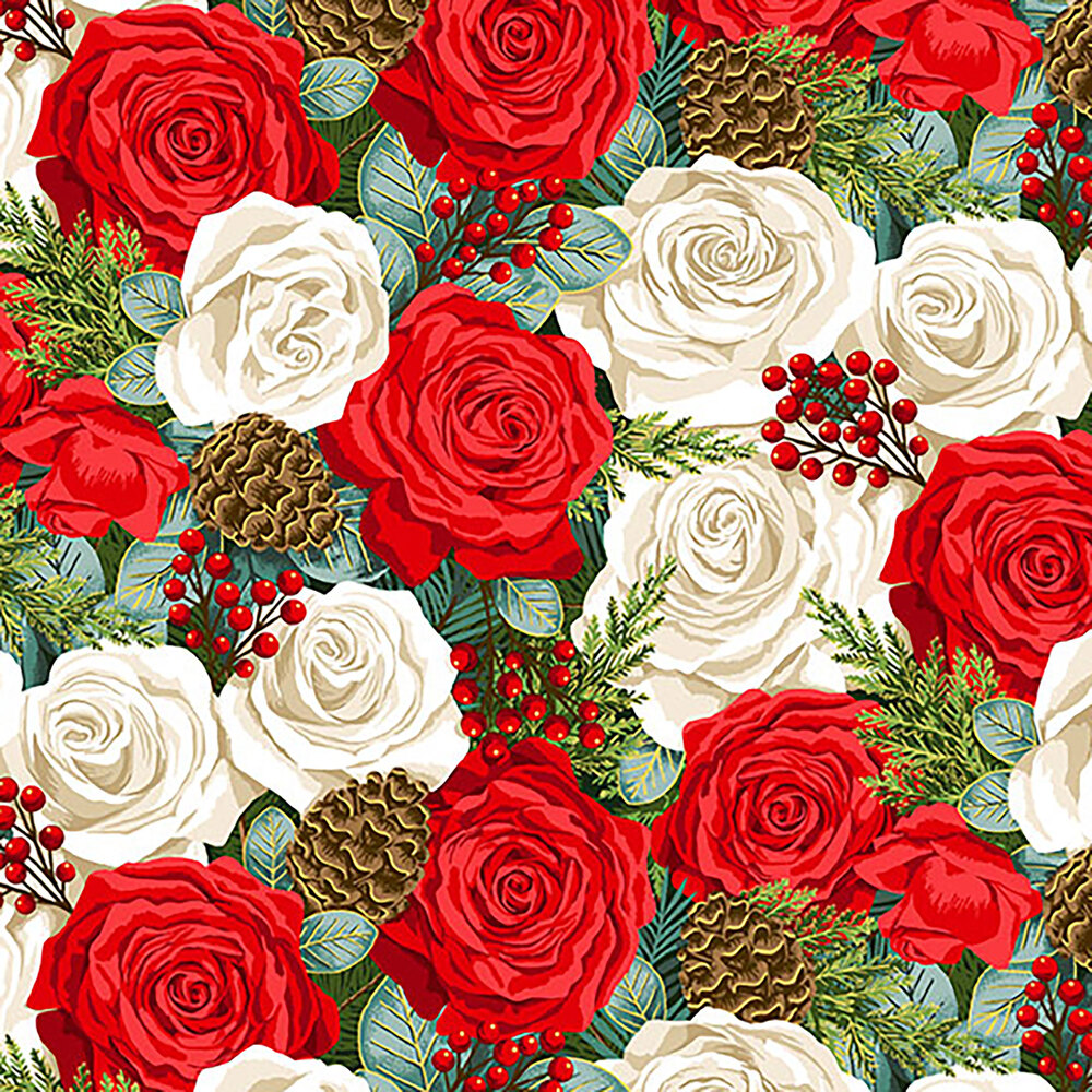 Roses and pinecones allover