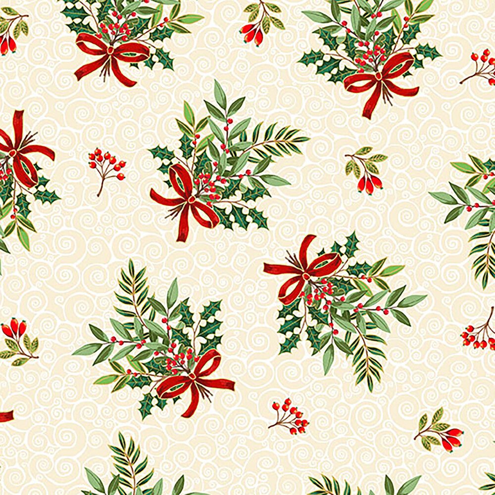 Tossed evergreen branches on a scroll background