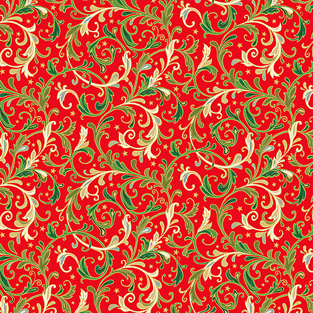 Swirls and stars on a red background