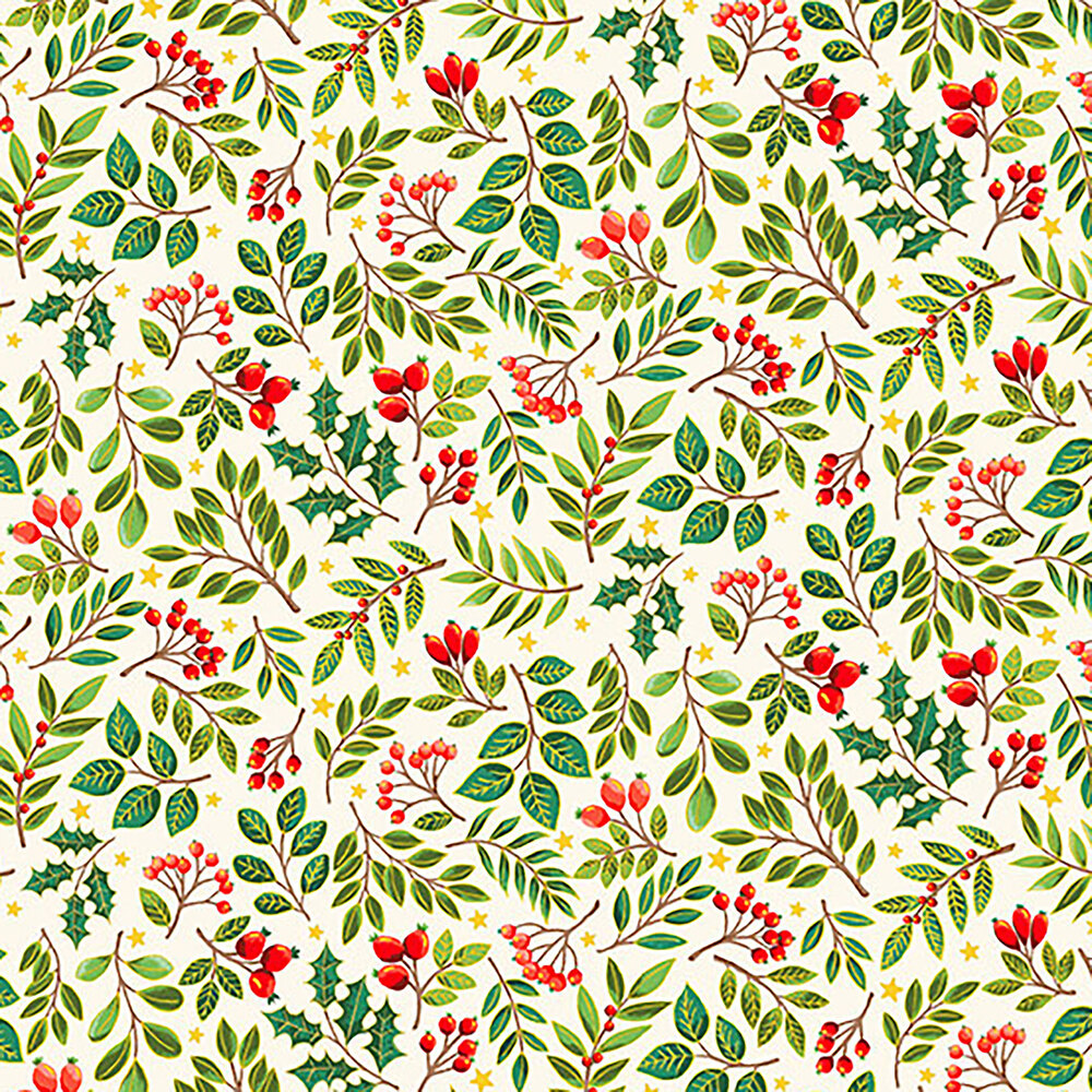 Tossed evergreen branches on a cream background