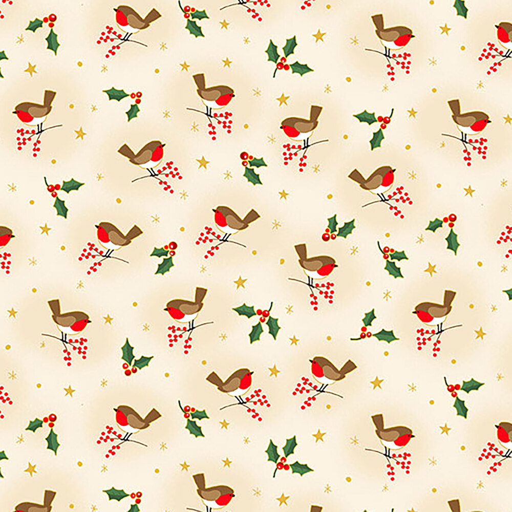 Tossed birds and holly leaves on a cream background