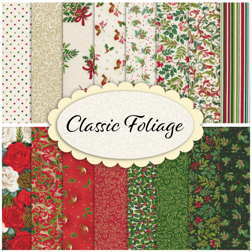 A collage of fabrics included in the Classic Foliage collection