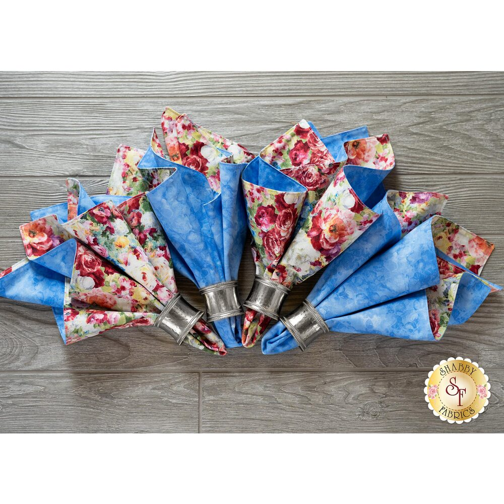 The 4 beautiful Cloth Napkins made with the Flower Market fabric collection | Shabby Fabrics