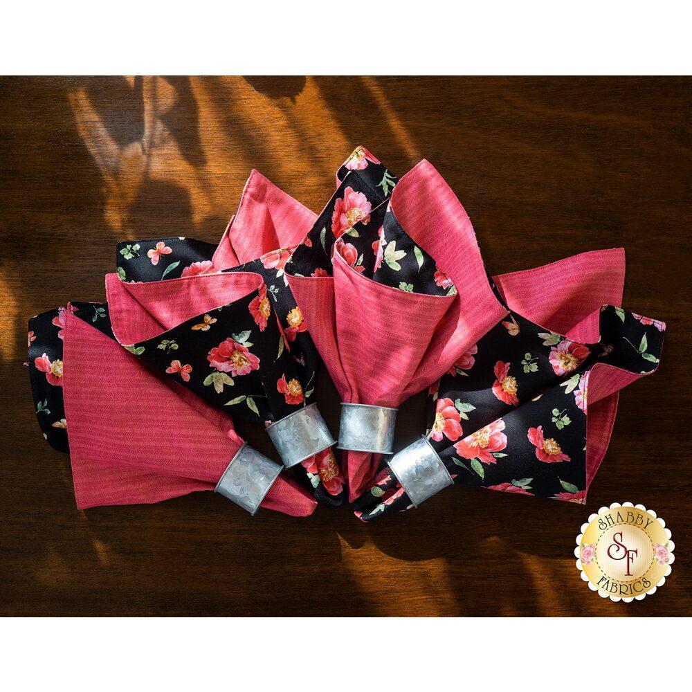 Cloth Napkins Kit - Pink Garden - Makes 4