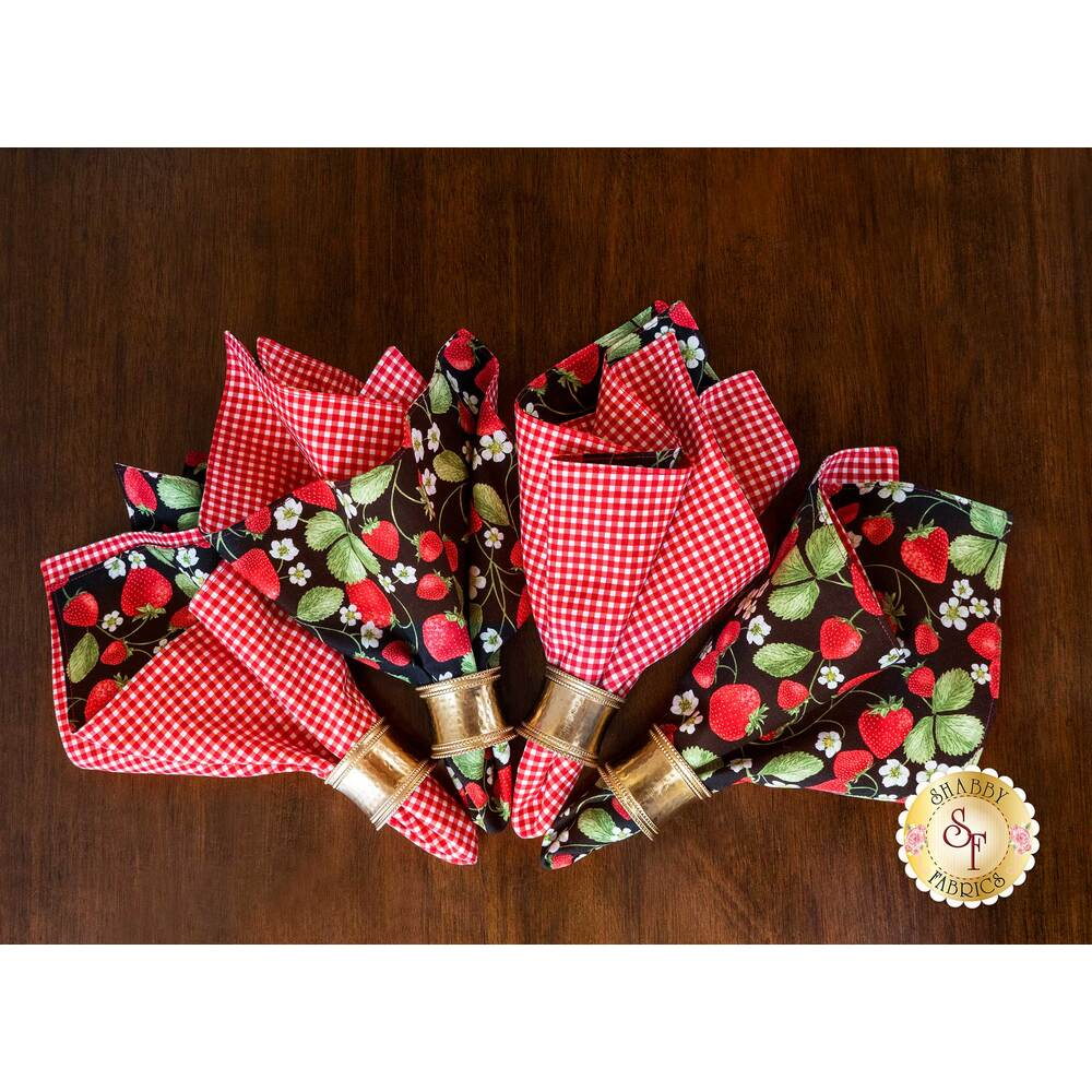 4 Beautiful cloth napkins with red and white gingham, and strawberry fabric