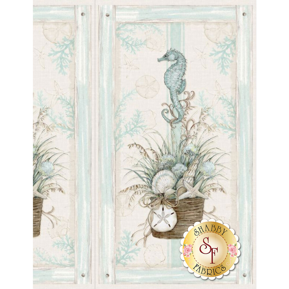Panel featuring a seahorse as a centerpiece | Shabby Fabrics