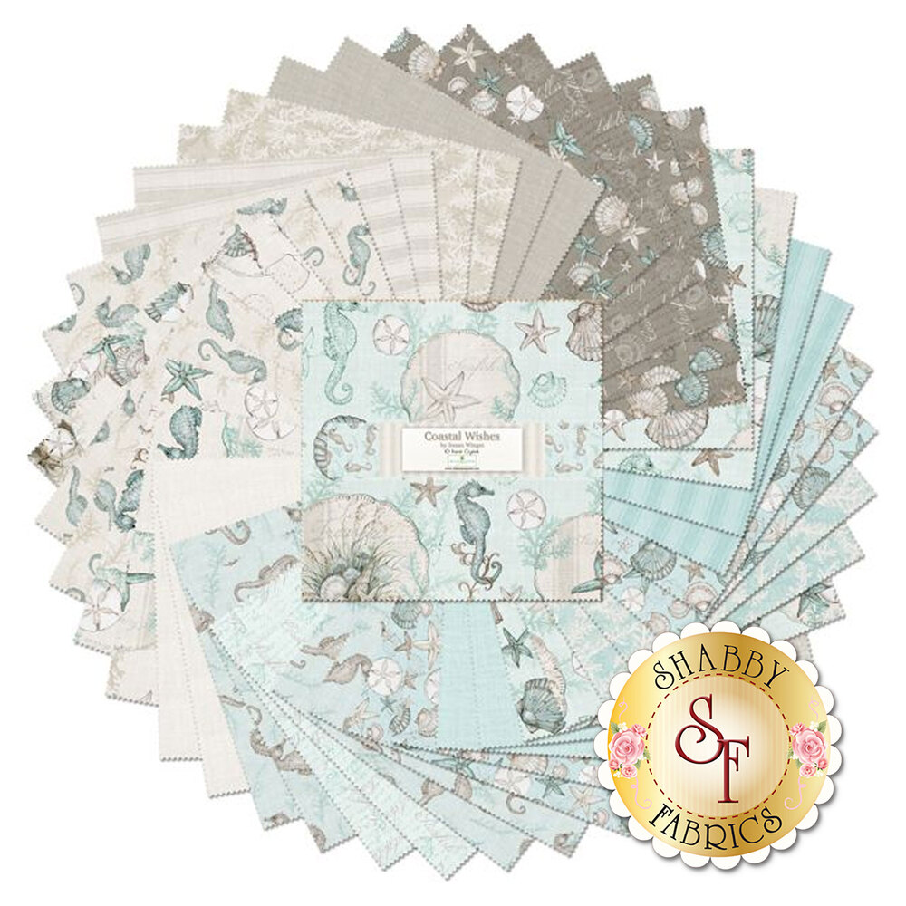 """Fabrics in Coastal Wishes 10"""" squares fanned out 