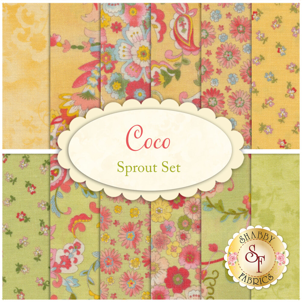 Coco  12 FQ Set - Sprout Set from Moda Fabrics by Chez Moi