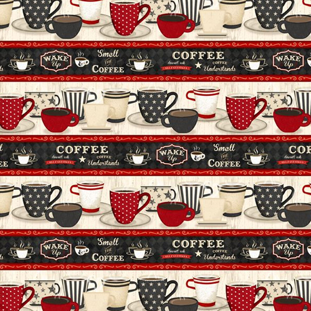 Border stripes with coffee cups of different sizes, and cozy kitchen phrases | Shabby Fabrics