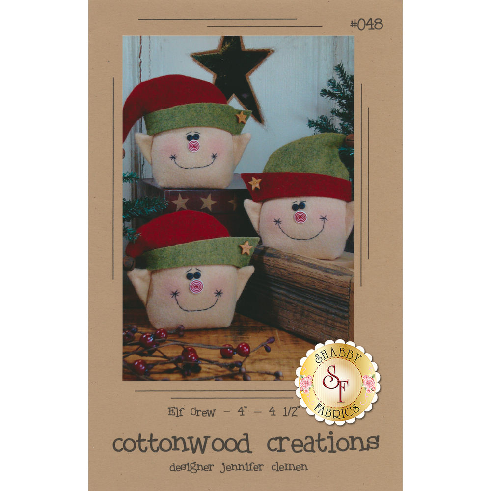The front of the Elf Crew Pattern showing the three finished elves | Shabby Fabrics
