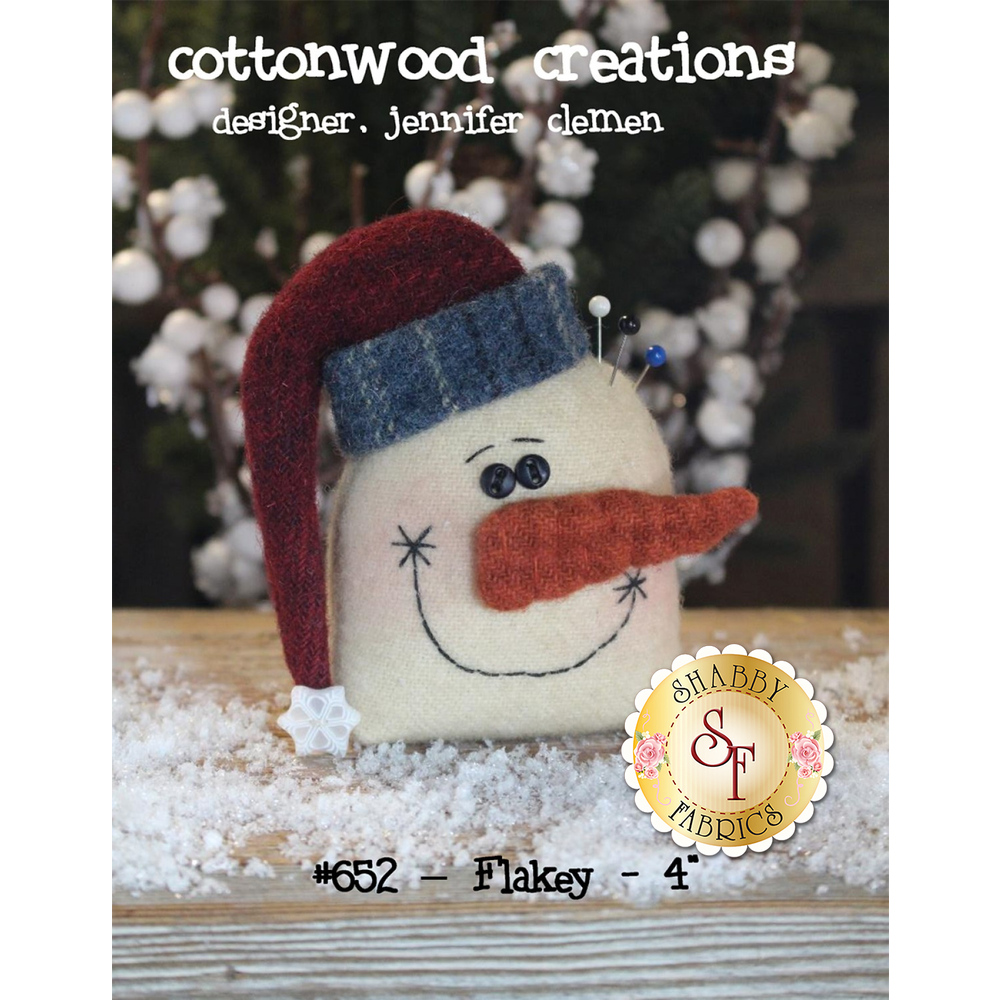 The front of the Flakey pattern showing the finished snowman | Shabby Fabrics