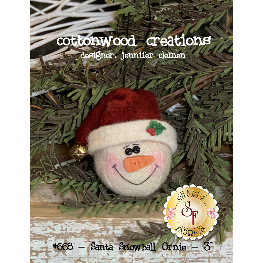 The front of the Santa Snowball Ornie pattern showing the finished ornament | Shabby Fabrics