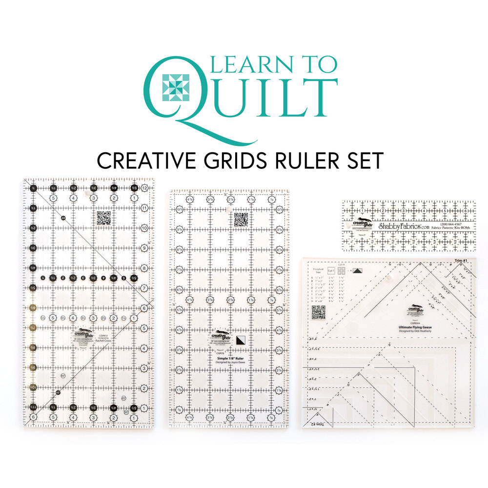 All 4 rulers in the Learn To Quilt Ruler Pack