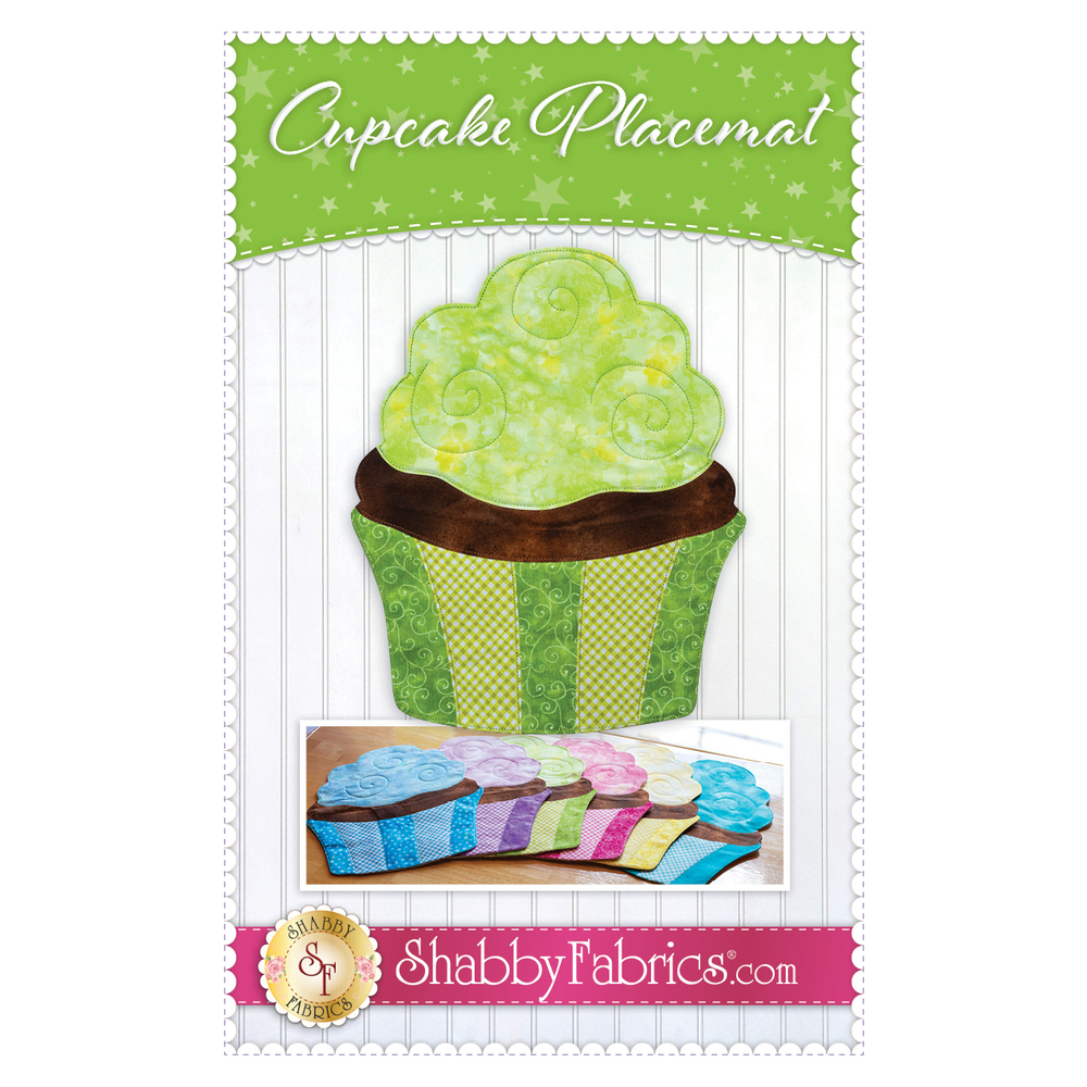 The front of the Cupcake Placemat Pattern showing finished cupcake placemats in a variety of colors