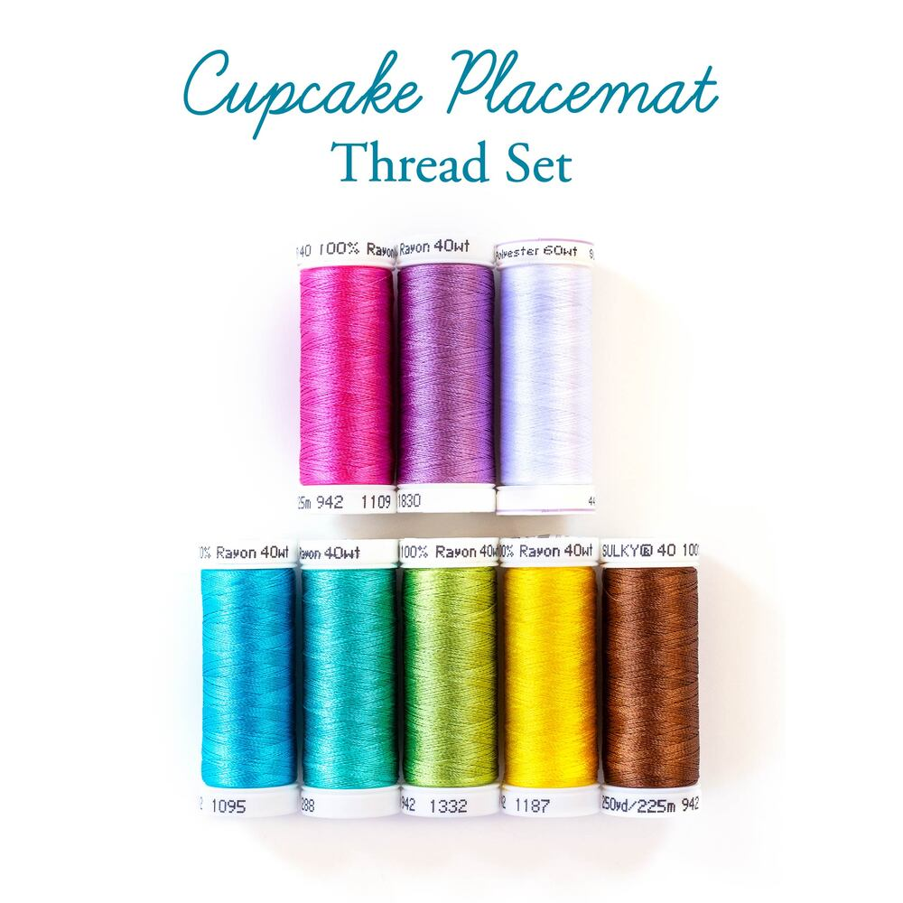 Cupcake Placemats Thread Set - 8pc