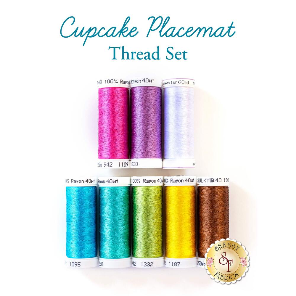 Cupcake Placemats - 8pc Rayon Thread Set
