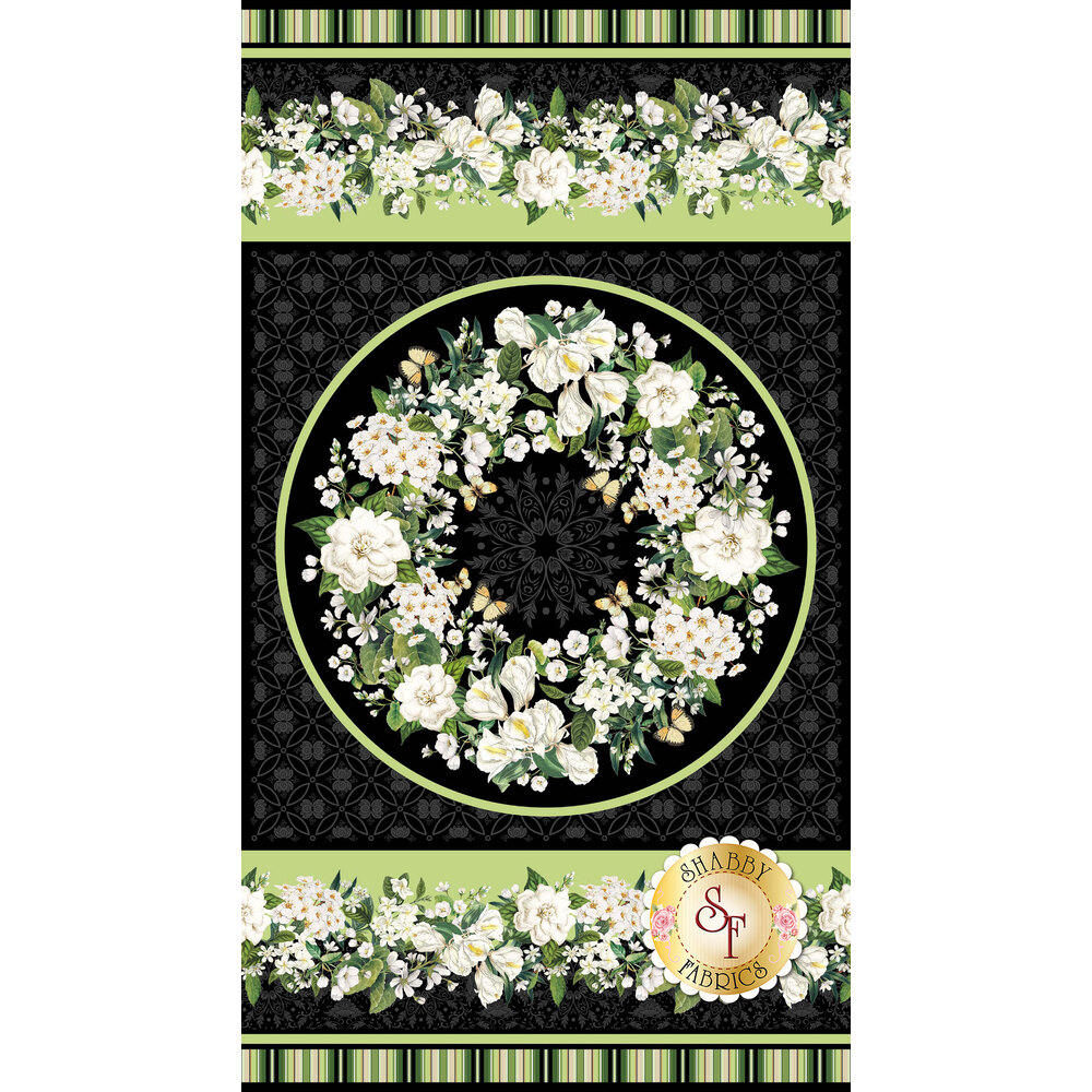 Panel featuring floral centerpiece | Shabby Fabrics