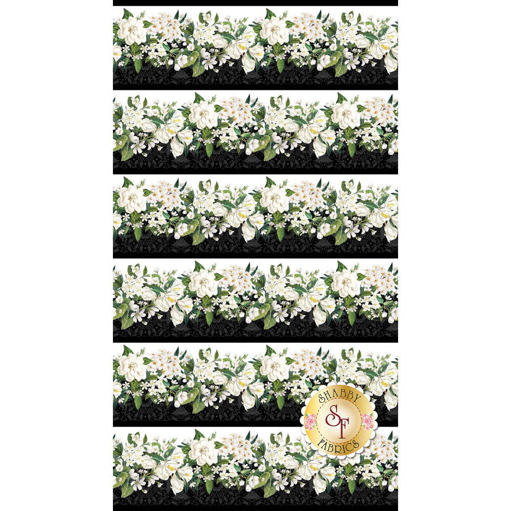 White floral border stripe with black | Shabby Fabrics