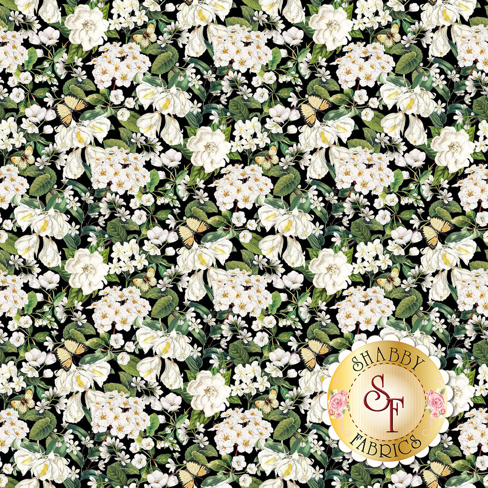 White floral design with butterflies all over black | Shabby Fabrics
