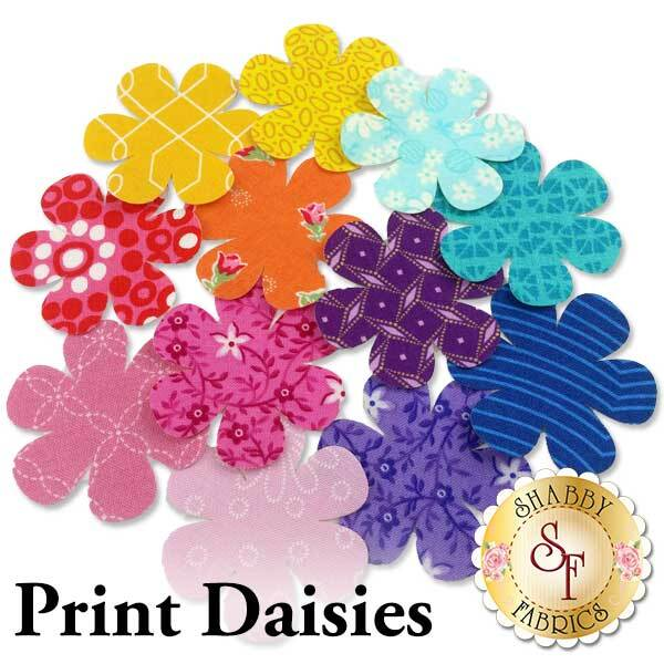 12 daisy applique shapes in a rainbow of print fabrics.
