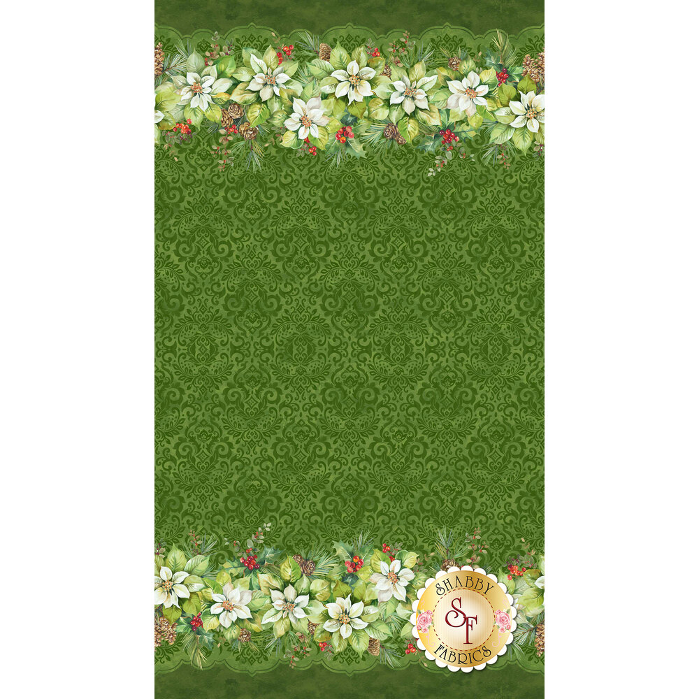 Tonal swirls and scrolls on a green background with a border of beautiful Christmas flowers