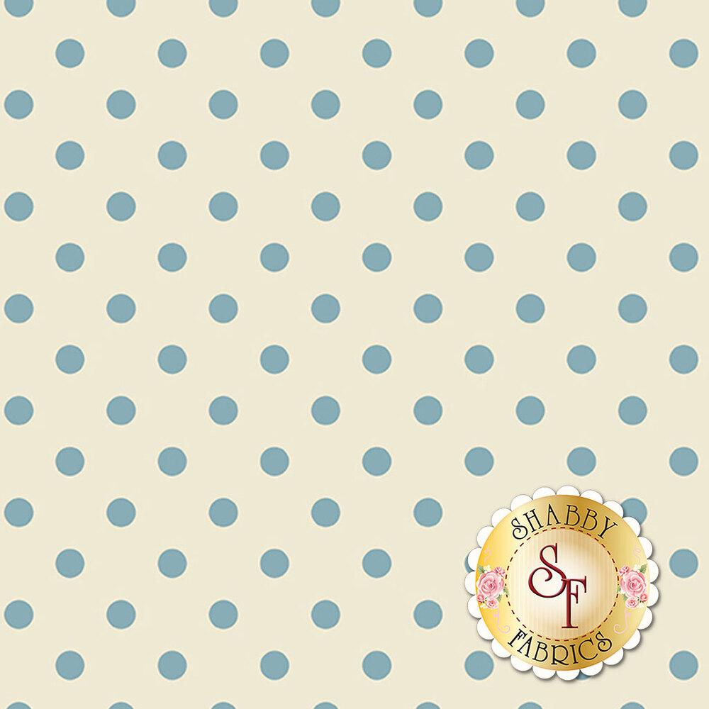 A beautiful cream fabric with blue polka dots all over | Shabby Fabrics