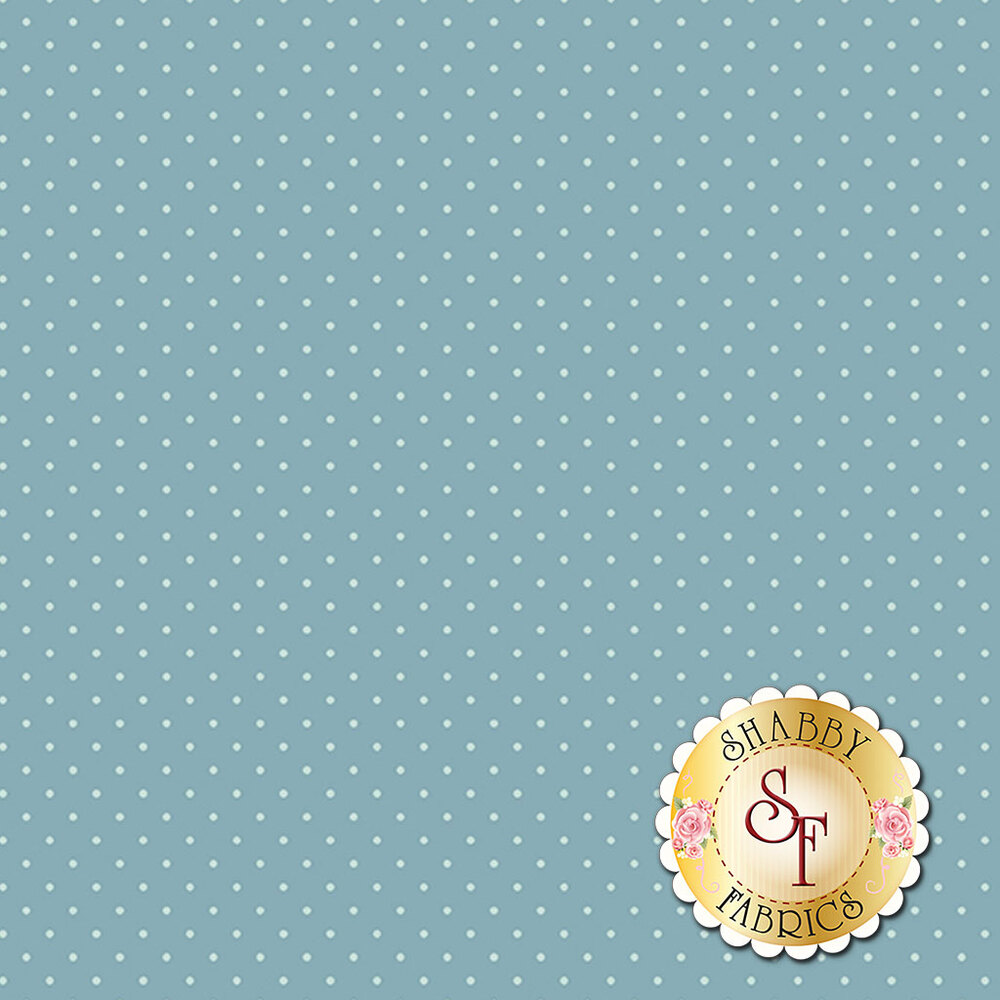 A navy blue fabric with cream pin dots all over | Shabby Fabrics