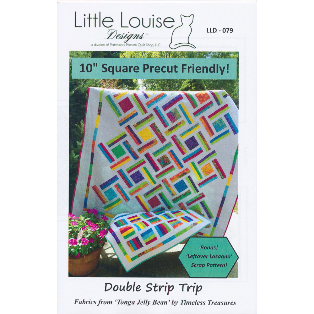 The front of the Double Strip Trip pattern showing the finished quilt