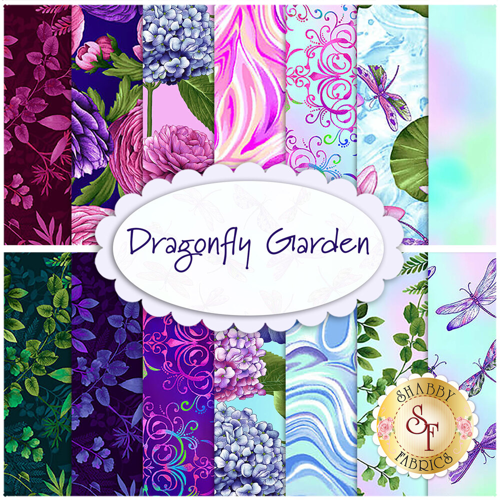 Collage of fabrics included in Dragonfly Garden FQ Set   Shabby Fabrics