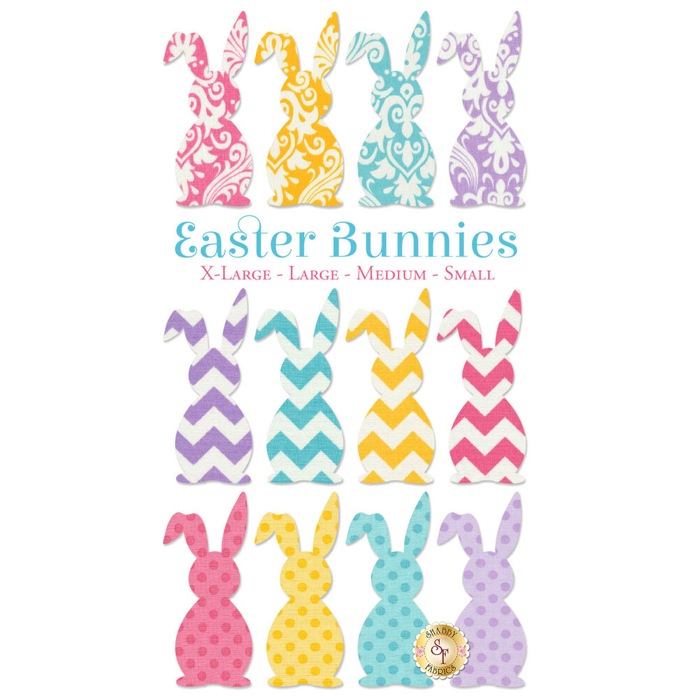 12 Easter bunny applique shapes in bright and pastel colors: 3 pink, 3 blue, 3 yellow, 3 purple.