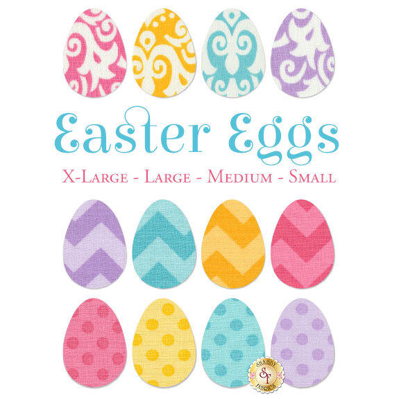 12 Easter egg applique shapes in bright and pastel colors: 3 yellow, 3 pink, 3 blue, 3 purple.