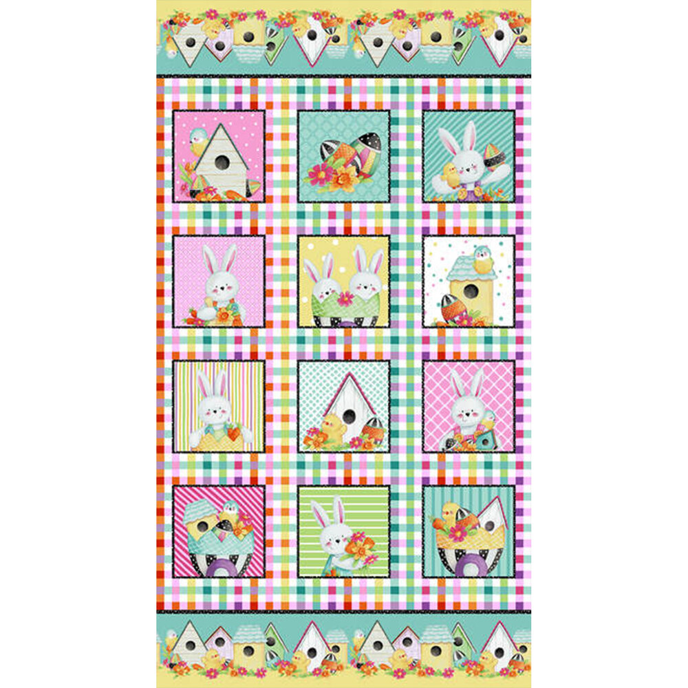 Easter Fun panel with small scenes   Shabby Fabrics