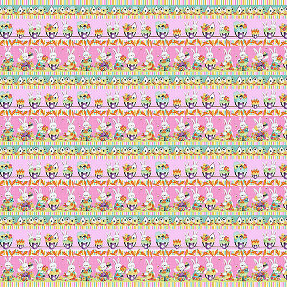 Pink border stripe with repeating bunnies | Shabby Fabrics