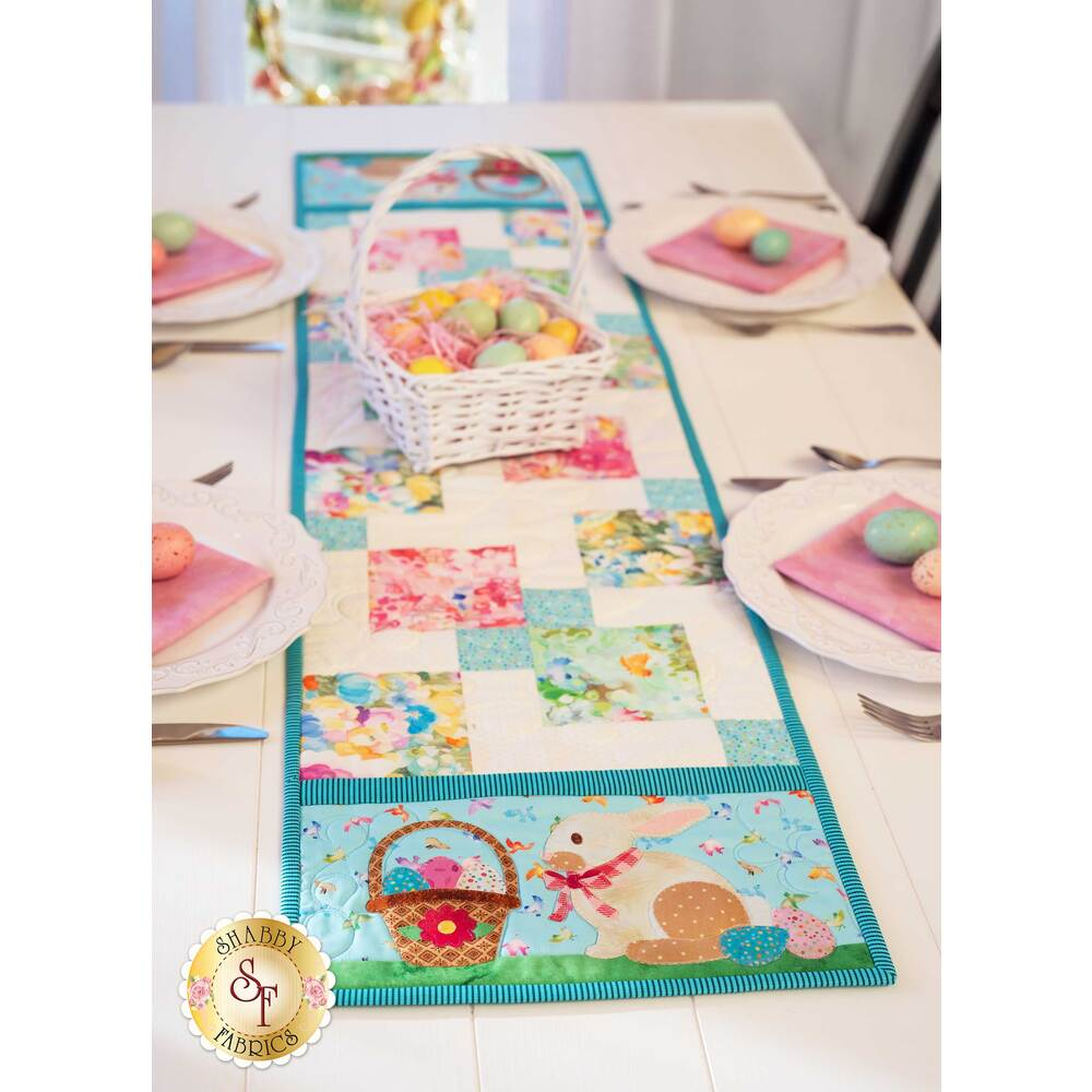 The adorable Easy Pieced Table Runner for April featuring adorable Easter bunnies | Shabby Fabrics