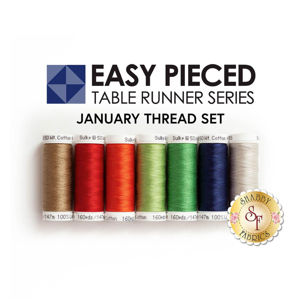 The coordinated thread set for the Easy Pieced Table Runner - January kit