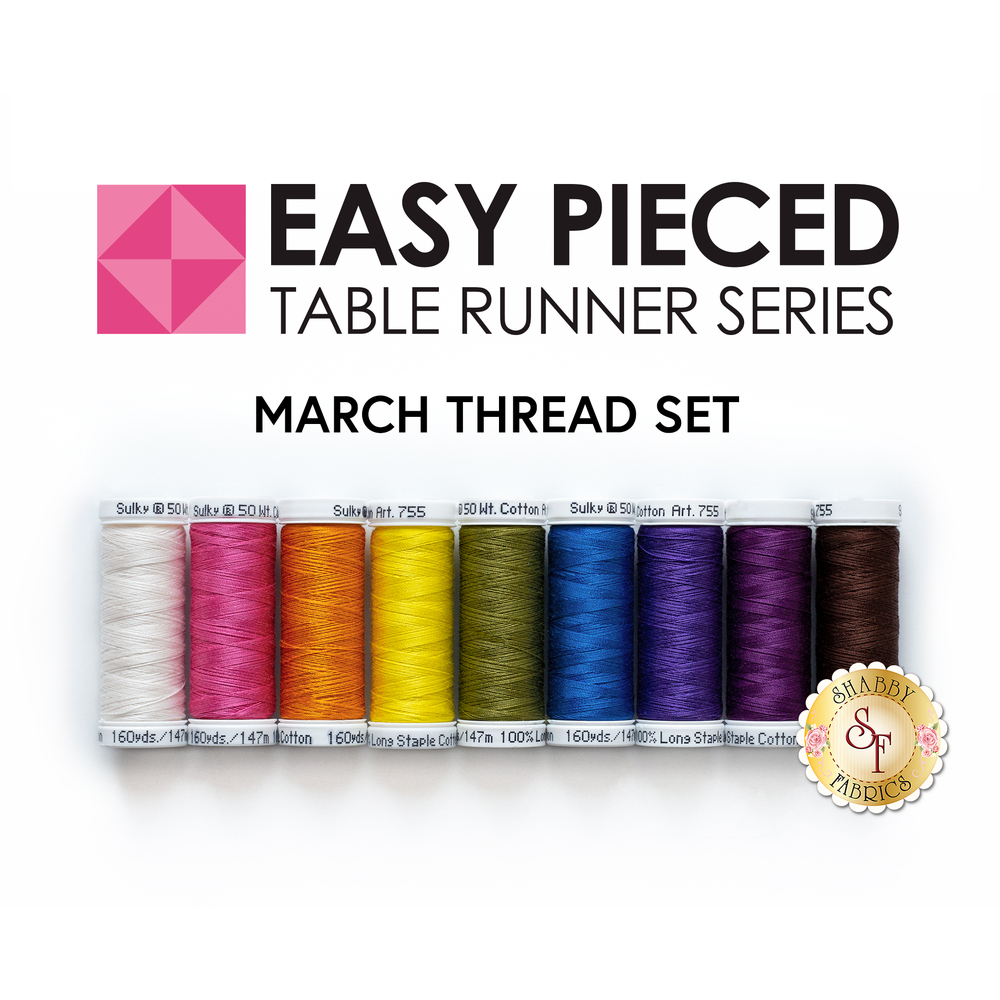 The 9 piece coordinated thread set for the Easy Pieced Table Runner - March Kit | Shabby Fabrics