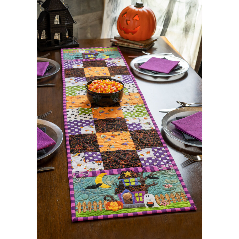 Easy Pieced Table Runner Series - October displayed on a table
