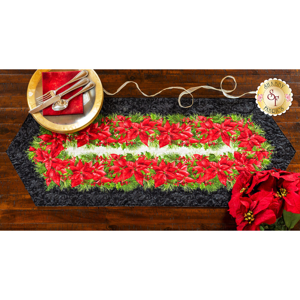 Easy Striped Table Runner Kit - Poinsettia & Pine Black