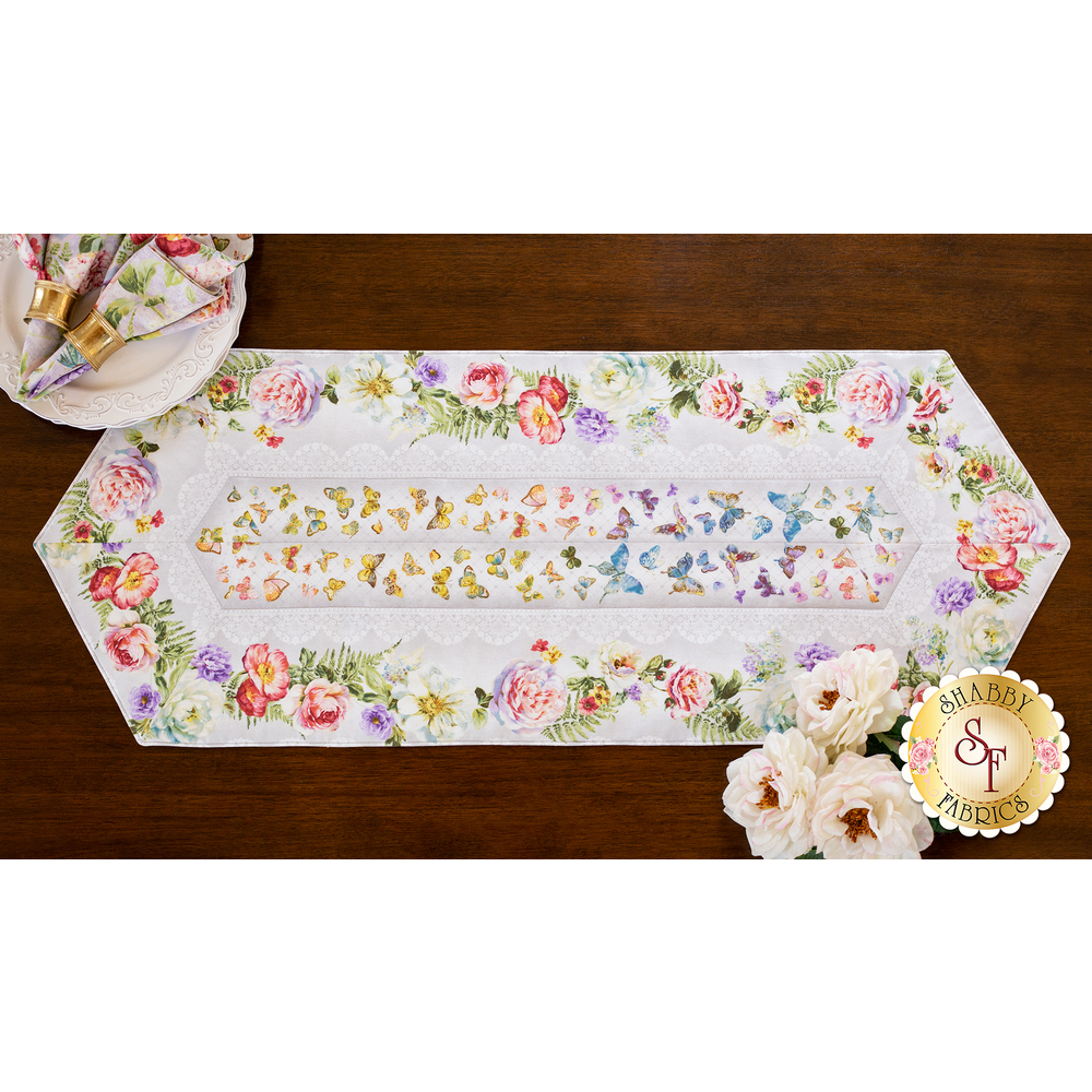 Easy Striped Table Runner Kit - Butterfly Haven available at Shabby Fabrics