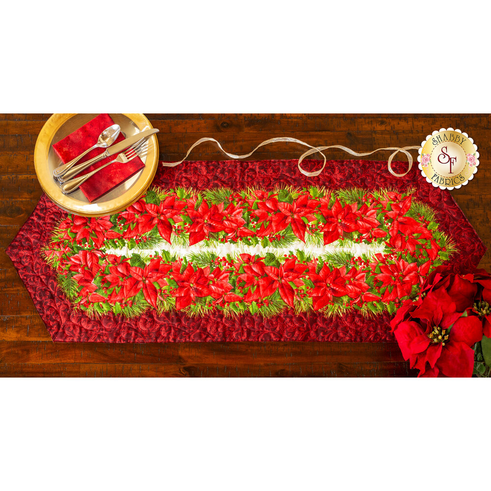 Easy Striped Table Runner Kit - Poinsettia & Pine Red
